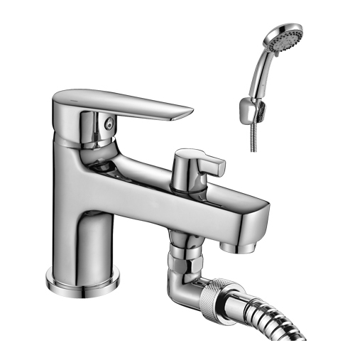 S35-38 ХромСмесители<br>Смеситель на борт ванны с монолитным изливом Rossinka S35-38. Пластиковый аэратор с функцией легкой очистки. Керамический картридж 35 мм. Аксессуары в комплекте (шланг 2 м, настенное крепление, 5-функциональная лейка с функцией легкой очистки).<br>