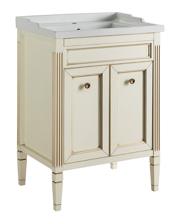 Альбион 60 BIANCO light vintage (B 003)Мебель для ванной<br>Мебель для ванной Каприго Альбион 60. Стоимость указана за тумбу под раковину. С двумя распашными дверцами. Размеры – 595x885x460 мм. Отделка – BIANCO light vintage. Варианты мебельных ручек – В 08, В 13, В 15. Размер тумбы с раковиной:610x909x465 мм.<br>