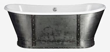 Vogue 172 x 69 С отделкой из сталиВанны<br>Овальная ванна Pool Spa Vogue 172 x 69 с декоративной отделкой из листовой стали. Необычная ванна, отлично подойдет  для создания особой атмосферы и обязательно станет «изюминкой» в интерьере вашей ванной комнаты. Ванна белая, акриловая с отделкой под состаренную сталь с заклепками. Все дополнительные комплектующие приобретаются отдельно.<br>