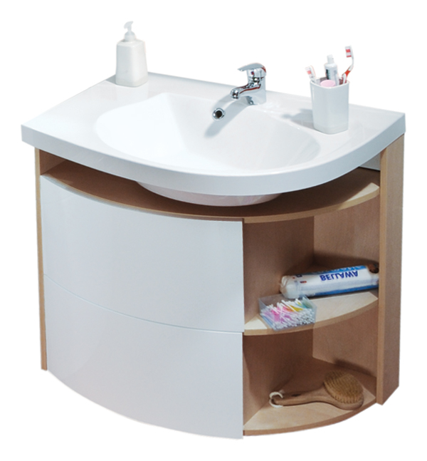 Rosa Comfort SDU береза / белая RМебель для ванной<br>Угловая тумба под раковину SDU Rosa Comfort в правом исполнении. Она оснащена выдвижным ящиком, встроенной корзиной для белья, а также открытыми боковыми полочками. Каркас и боковые полочки выполнены в цвете береза, фасад – белый.<br>