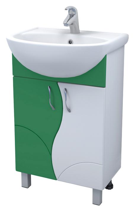 Alessandro 4 - 55 А-0-550В(Уют)-зел ЗеленыйМебель для ванной<br>Тумба под раковину Vigo Alessandro 4 - 55 А-0-550В(Уют)-зел с двумя распашными дверцами на ножках. Комплектуется раковиной Уют 55.<br>