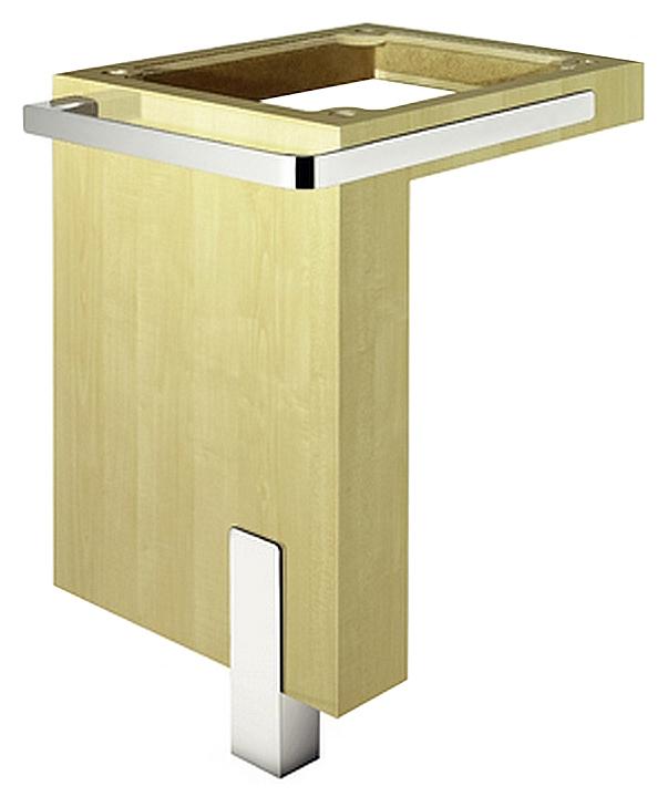 E2 56LS563 КленМебель для ванной<br>L-образное подстолье Kludi E2 56LS563 клен. Размер 500x758x500 мм. Для раковины с отверстием. Для раковины с крепежным материалом. С хромированной ножкой. С L-образным держателем для полотенца. Без раковины.<br>