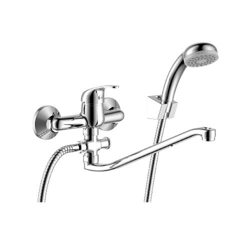 Y35-35 ХромСмесители<br>Смеситель Rossinka Y35-35 для ванны однорычажный, S-образный поворотный излив, кнопочный переключатель «ванна/душ», шланг 1,5м, однорежимная лейка.<br>
