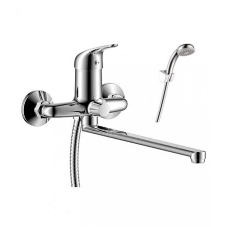 Y40-32 ХромСмесители<br>Смеситель Rossinka Y40-32 для ванны, однорычажный. Аксессуары в комплекте (шланг 1,5 м, настенное крепление, 1-функциональная лейка с функцией легкой очистки). Присоединительная группа (эксцентрики с отражателями) для вертикального крепления.<br>