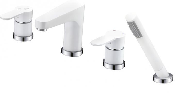 LACONICO-BVDM-BLC БелыйСмесители<br>Смеситель Cezares LACONICO-BVDM-BLC  на борт ванны с ручным выдвижным душем<br>