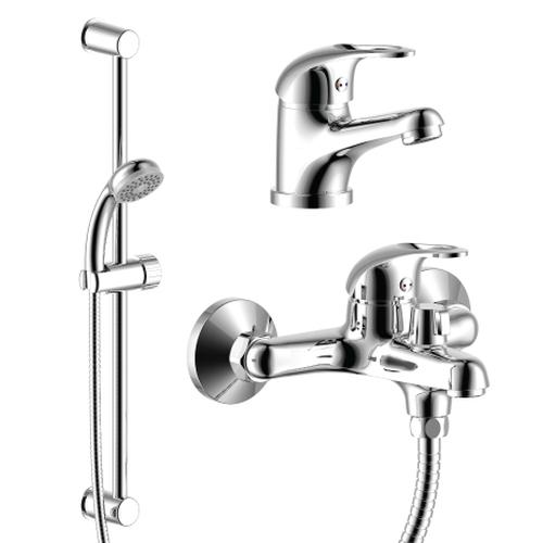 SET35-80 ХромСмесители<br>Набор смесителей Rossinka SET35-80 3 в 1 (для ванны + для умывальника + душ.гарнитур), хром.<br>