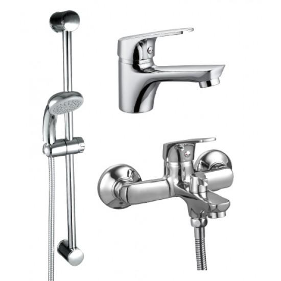 SET35-83 ХромСмесители<br>Набор смесителей Rossinka SET35-83 3 в 1 (для ванны + для умывальника + душ.гарнитур). Комплект: смеситель для умывальника литой, смеситель для ванны с монолитным изливом, душевая стойка, шланг 1,5 метра, душевая лейка с функцией легкой очистки, крепление.<br>