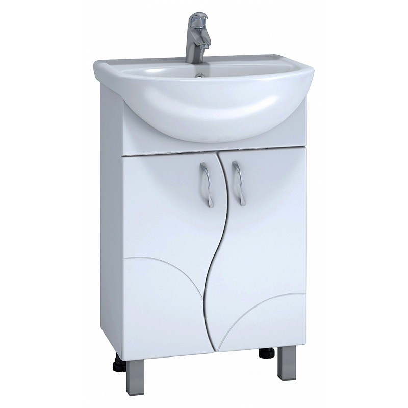 Alessandro 4 - 55 А-0-550В(Уют) БелыйМебель для ванной<br>Тумба под раковину Vigo Alessandro 4 - 55 А-0-550В(Уют) с двумя распашными дверцами на ножках. Комплектуется раковиной Уют 55.<br>