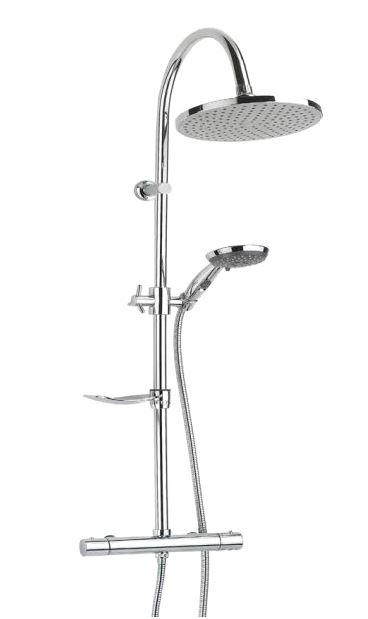 Key Largo  ХромДушевые системы<br>Душевая система Valentin Key Largo. Комплектация: ручной душ c 2-х позиционной массажной лейкой с функцией STOP регулируемый по высоте и наклону, гибкий шланг 1750 мм., верхний тропический душ 220 мм.(ABS), душевая штанга из нержавеющей стали с закрепляющейся мыльницей, адаптированный термостатический смеситель.<br>