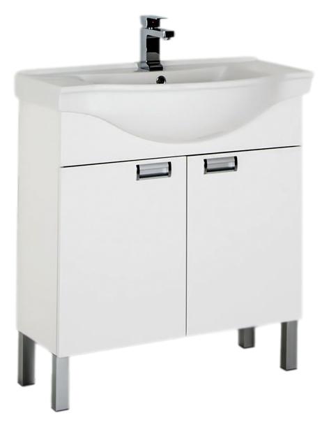 Адель 80 белаяМебель для ванной<br>Тумба под раковину Aquanet Адель 80 белая, с двумя распашными дверцами, отличается лаконичностью и продуманностью деталей. В каждом ее элементе воплотились самые яркие черты минимализма - четкие и ясные линии, открытая геометрия форм, простота, точность и лаконичность композиции. С помощью мебели Адель можно оборудовать любое пространство современно и стильно. Дверцы оснащены системой доводчиков для плавного и не шумного закрывания. Устойчивые алюминиевые ножки, шириной 100 мм, снабжены функцией регулировки. В комплект поставки входит тумба.<br>