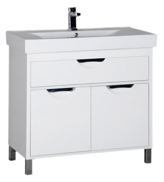 Гретта 90 белая белаяМебель для ванной<br>Тумба под раковину Aquanet Гретта 90 с двумя распашными дверцами, одним выдвижным ящиком и оригинальными ручками, просторная, стильная и удобная, отлично впишется в современный интерьер любой цветовой гаммы. Строгие формы, острые углы: здесь отсутствует лишний декор и все нацелено на функциональность и удобство каждого элемента. В комплект поставки входит тумба.<br>