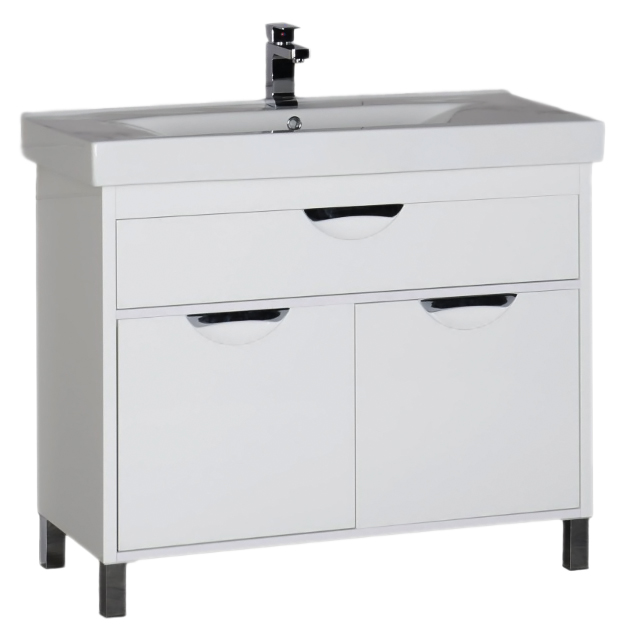 Гретта 100 белая белаяМебель для ванной<br>Тумба под раковину Aquanet Гретта 100 с двумя распашными дверцами, одним выдвижным ящиком и оригинальными ручками, просторная, стильная и удобная, отлично впишется в современный интерьер любой цветовой гаммы. Строгие формы, острые углы: здесь отсутствует лишний декор и все нацелено на функциональность и удобство каждого элемента. В комплект поставки входит тумба.<br>