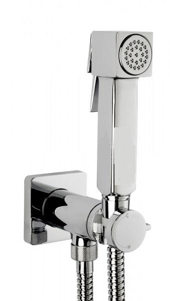 Cube Brass E38001B.030 ХромГигиенические души<br>Гигиенический душ Bossini Cube Brass E38001B.030 для биде. В комплекте: гигиенический прогрессивный смеситель, лейка с клапаном подачи воды, шланг 1250 мм.<br>
