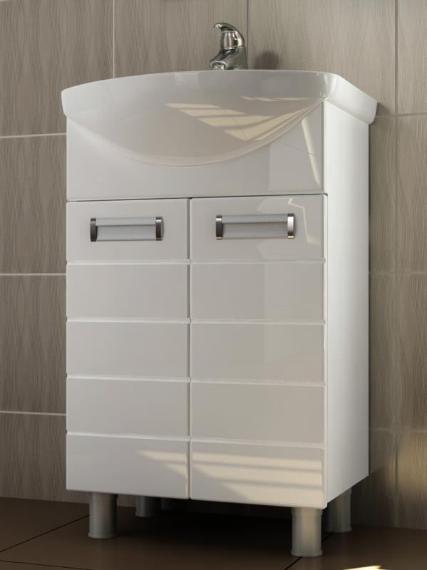 Vento 50 Венто-0-500(Ладога) БелыйМебель для ванной<br>Тумба под раковину Vigo Vento напольная. Тумба на ножках с двумя распашными ящиками.<br>