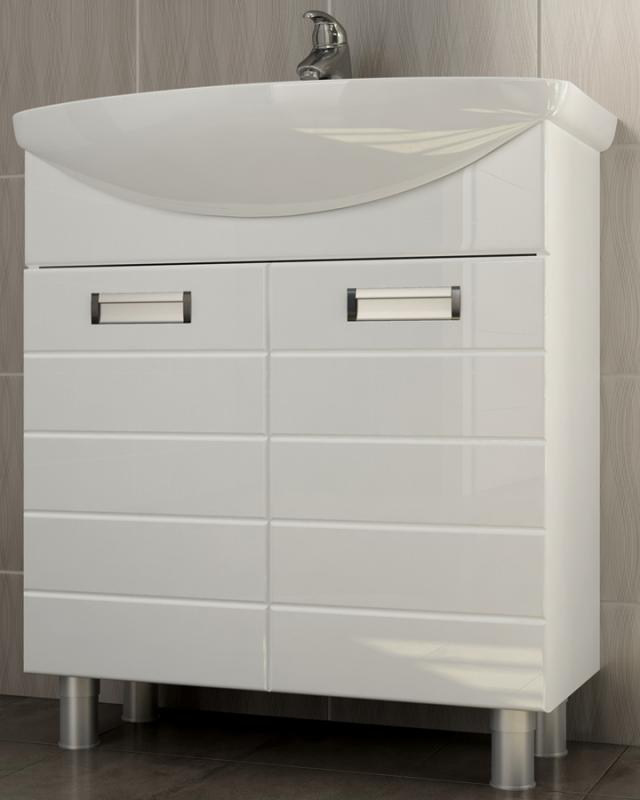 Vento 70 Венто-0-700(Балтика) БелыйМебель для ванной<br>Тумба под раковинуVento 70: 2 распашные дверцы с механизмом плавного закрывания, 2 металлические врезные ручки (хром), регулируемые ножки.<br>