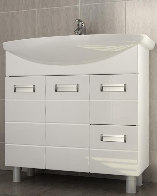 Vento 80 Венто-2-800(Балтика) БелыйМебель для ванной<br>Тумба под раковину Vento 80: 2 распашные дверцы с механизмом плавного закрывания, 2 выдвижных ящика с системой полного выдвижения, 4 металлические врезные ручки (хром), регулируемые ножки.<br>