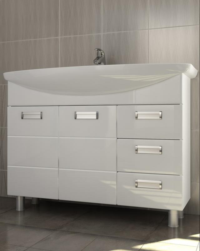 Vento 105 Венто-3-1050(Стиль) БелыйМебель для ванной<br>Тумба под раковину Vento 105: 2 распашные дверцы с механизмом плавного закрывания, 3 выдвижных ящика с системой полного выдвижения, 5 металлических врезных ручек (хром), регулируемые ножки.<br>