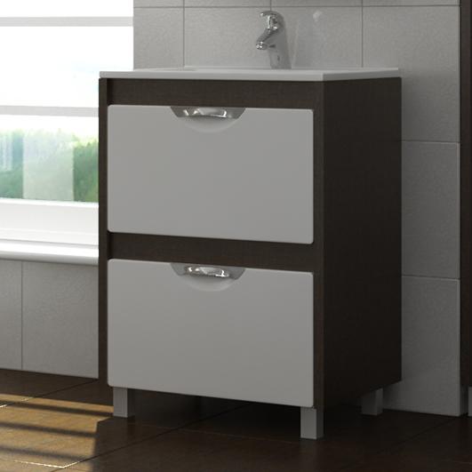 Kolombo 60 K-2-600(Melana)венг Белый/ВенгеМебель для ванной<br>Тумба Vigo Kolombo 60 на ножках с двумя выдвижными фасадами. Направляющие скрытые полного выдвижения, механизм мягкого и бесшумного самозакрывания (Blum, Австрия). Металлические хромированные ручки.<br>