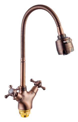 P5860-3 красная бронзаСмесители<br>Смеситель для кухни Potato P5860-3 с гибким изливом, легко меняющим свой угол наклона и поворота. Два вида струи: нормальная и душевая. Возвратный клапан. Керамические кран-буксы G1/2, поворот 180 градусов. Гибкая подводка 400 мм, G1/2. Высота смесителя 300 мм. Крепление гайка. Цена указана за смеситель, гибкую подводку и комплект крепления. Все остальное приобретается дополнительно.<br>