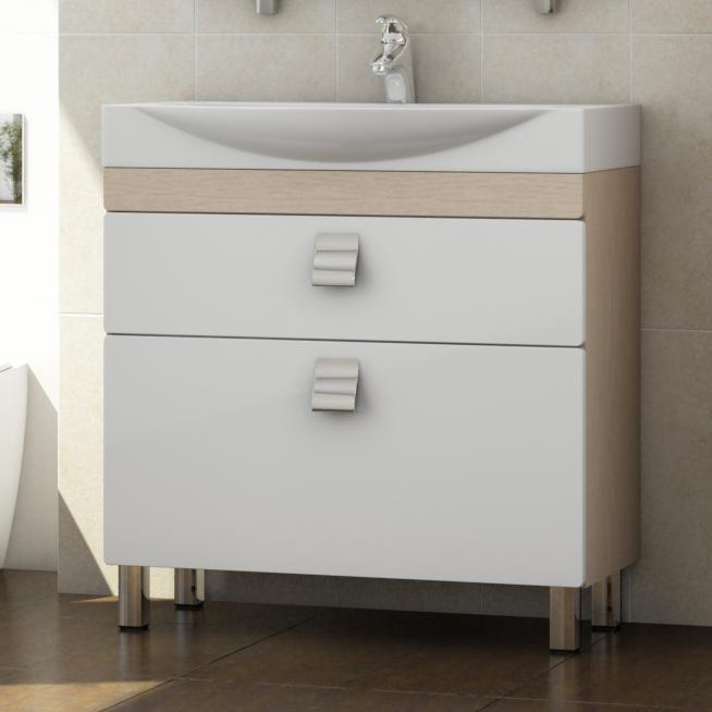 Wave 80 Wave-2-800-Н Белый/дуб светлыйМебель для ванной<br>Тумба для комплекта Vigo Wave 80 с выдвижными ящиками. Направляющие скрытые полного выдвижения, механизм мягкого и бесшумного самозакрывания (Blum, Австрия). Накладные ручки.<br>