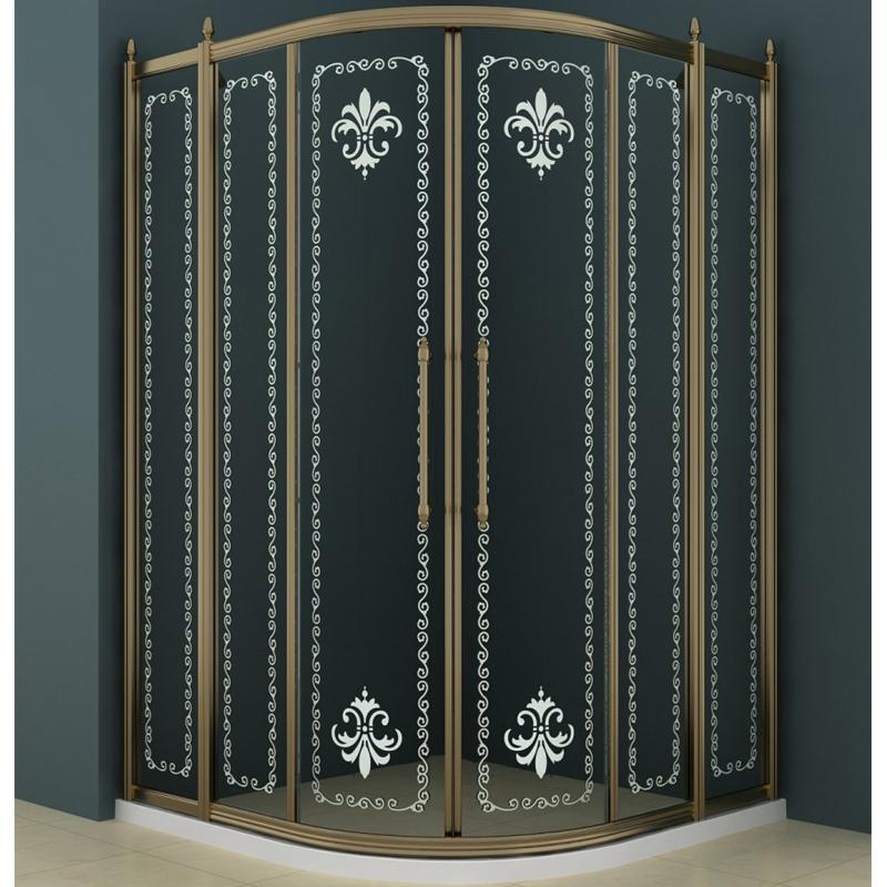 Купить Душевой уголок, Retro R-22 Scorrevole 120x120 профиль Золото стекло прозрачное с матовым узором, Cezares, Италия