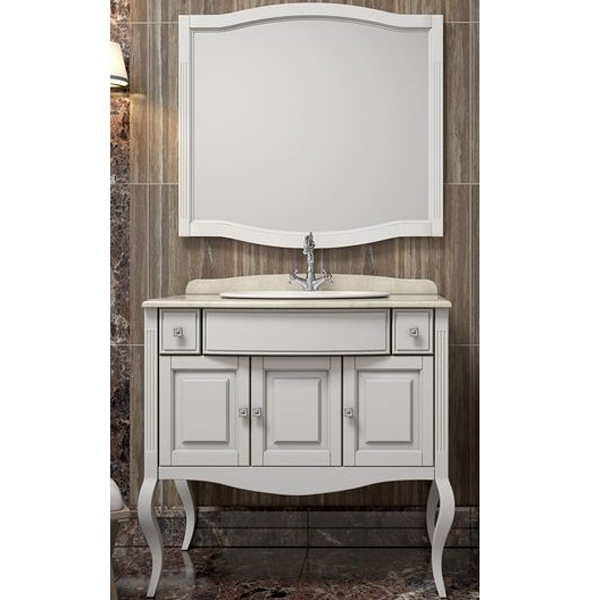 Комплект мебели для ванной Opadiris Лаура 100 под мраморную столешницу Белый матовый ручки Swarovski Хром