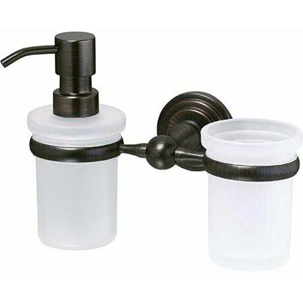 Стакан для зубных щеток с дозатором жидкого мыла WasserKRAFT Isar K-7389 Темная бронза дозатор для жидкого мыла wasserkraft isar k 7399 темная бронза