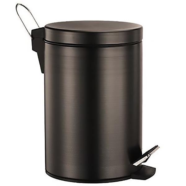 Isar K-655 5 л Темная бронзаАксессуары для ванной<br>Мусорное ведро с педалью WasserKRAFT Isar К-655.<br>Выполнено из нержавеющей стали с покрытием цвета Темная бронза.<br>Крышка с микролифтом - функцией плавного опускания и поднимания.<br>Объем: 5 литров.<br>