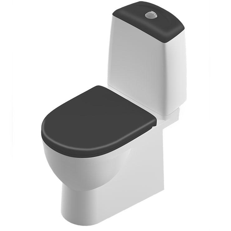 Унитаз Sanita Luxe Best Luxe SL DM Black BSTSLCC06100522 Белый с бачком и черным сиденьем Микролифт унитаз компакт santiline sl 5012 с сиденьем микролифт