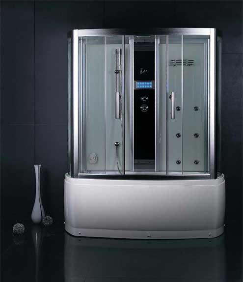 DA327 F3 цвет серыйДушевые боксы<br>Душевой бокс Eago DA327 F3. Цвет черный. Комплектаци: гидромассаж в ванне и кабине, подсветка в ванне, слив-перелив, верхний тропический душ, душева лейка на стойке, турецка бан (мощность парогенератора – 3 кВт), устройство дл промывки парогенератора, лектронна панель управлени F3, вытжной вентилтор, FM-приёмник, подсветка-хромотерапи. Полочка дл косметики.<br>