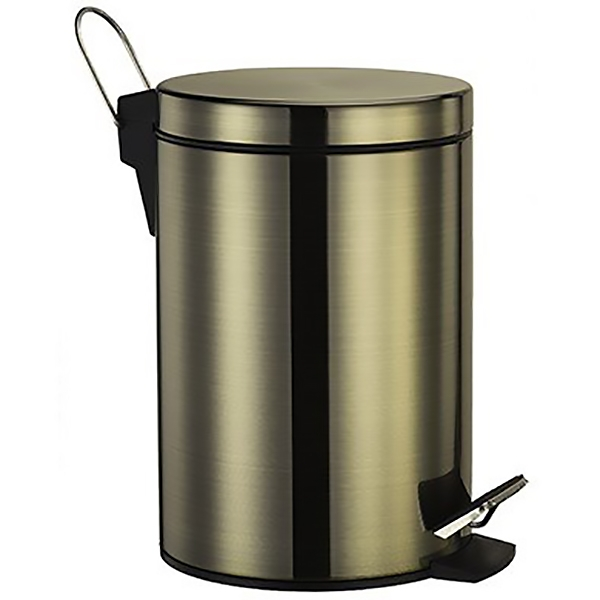 Exter K-645 Светлая бронзаАксессуары для ванной<br>Мусорное ведро с педалью Wasser Kraft Exter К-645.<br>Выполнено из нержавеющей стали с покрытием цвета Светлая бронза.<br>Крышка с микролифтом - функцией плавного опускания и поднимания.<br>Объем: 5 литров.<br>