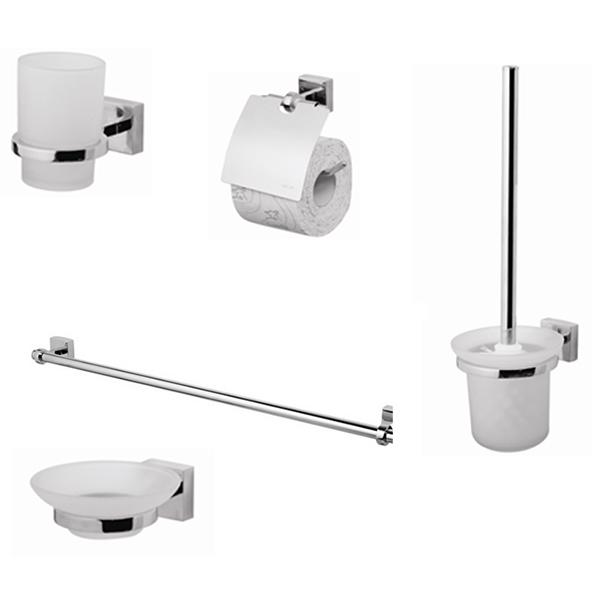Joy Set 5 ХромАксессуары для ванной<br>Набор аксессуаров AM PM Joy Set 5, состоящий из стакана Joy A8534300, мыльницы Joy A8534200, с держателями, а также держателя для туалетной бумаги Joy A85341400, стойки с туалетной щеткой Joy A8533300 и двойной вешалки для полотенец Joy A85336400.<br>