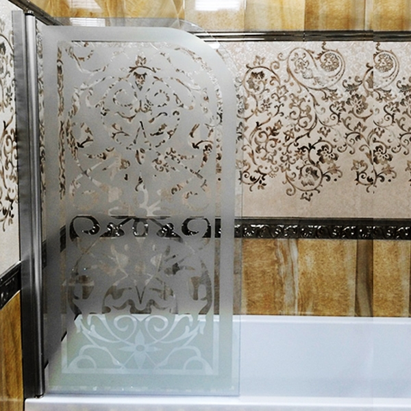 Mia 800x1400 декор  Профиль хром/стекло с декором RightДушевые ограждения<br>Шторка на ванну Sturm Mia 800x1400 правая распашная, стекла с декором. Профиль – хром.<br>