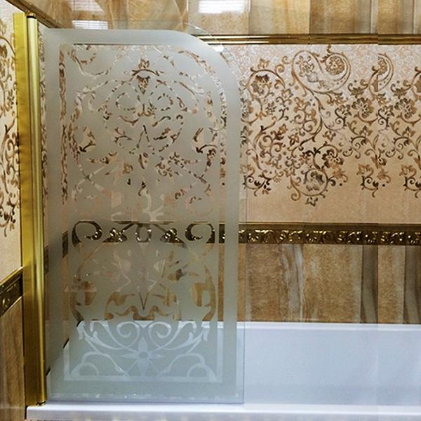Mia 800x1400 декор  Профиль золото/стекло с декором LeftДушевые ограждения<br>Шторка на ванну Sturm Mia 800x1400 левая распашная, стекла с декором. Профиль – золото.<br>