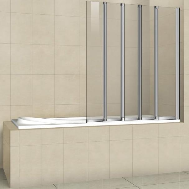 Шторка на ванну Cezares Pratico V-5 120x140 профиль Хром стекло прозрачное PRATICO-V-5-120/140-C-Cr
