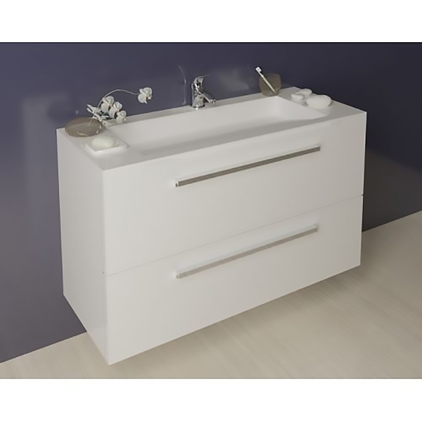 Jolie 120 под столешницу БелаяМебель для ванной<br>Тумба под столешницу Kolpa San Jolie 120 подвесная.<br>Безупречная и лаконичная модель с двумя выдвижными ящиками и ручками цвета хром. Прекрасно впишется в современный интерьер ванной комнаты. <br>Тумба:<br>Габариты: 120.6x50x66 см. <br>Каркас и фасад изготовлены из влагостойкого ДСП с покрытием мембранной пленкой. <br>Гладкая глянцевая поверхность. <br>Влагостойкие клеи и угловые ленты. <br>Два выдвижных ящика. <br>Ручки цвета хром.<br>Мягкое открытие и закрытие ящика благодаря доводчикам европейского качества. <br>Цвет: белый.<br>В комплекте поставки: тумба.<br>