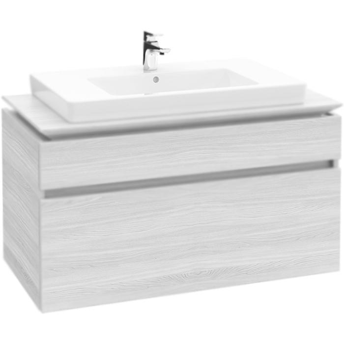 Legato B225 100 подвесная Белое деревоМебель для ванной<br>Подвесная тумба Villeroy&amp;Boch; Legato 100x50 B225L0E8+71758G01 с раковиной по центру, с двумя выдвижными ящиками, со светодиодной подсветкой.<br>Цвет: белое дерево (white wood).<br>Материал: МДФ под пленкой.<br>Три контейнера для аксессуаров L.<br>Один высокий стеклянный разделитель.<br>Два низких стеклянных разделителя.<br>Подсветка LED: класс A-A++.<br>Фарфоровая раковина с переливом.<br>Цвет раковины: альпийский белый.<br><br>В комплекте поставки:<br>тумба Legato B225L0E8;<br>раковина Subway 2.0 71758G01;<br>комплект креплений.<br><br>