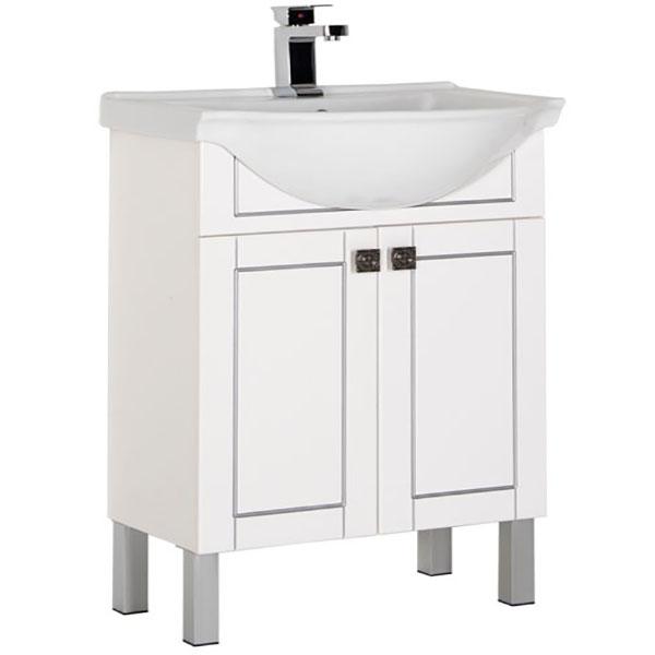 Честер 60 Белая Патина сереброМебель для ванной<br>Тумба под раковину Aquanet Честер 60 182680 Белая Патина серебро. Модель имеет современный дизайн. Рисунок фасада рельефный, выполнен с использованием патины. Изделие оборудовано двумя распашными дверцами с доводчиками, за которыми можно разместить много мелочей, мыльных принадлежностей и предметов гигиены. <br>Размеры: 60.5Х86Х44 см.<br>Фурнитура: матовый хром.<br>Базовый монтаж: напольная.<br>Покрытие: краска/глянец.<br>Конструкция: 2 распашные дверцы, оборудованные доводчиками.<br>В комплекте поставки: Тумба.<br>
