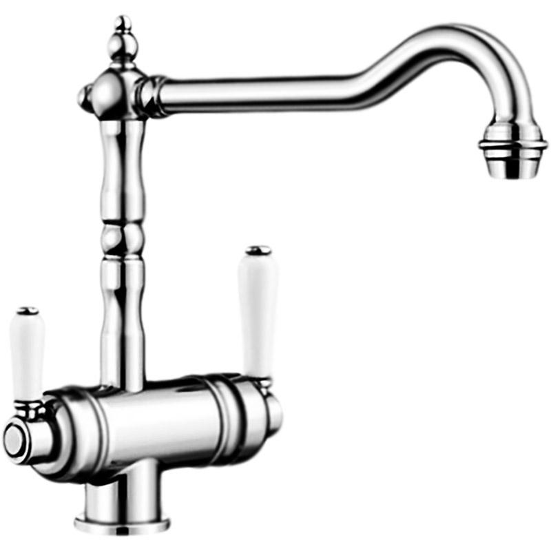 Sora Латунь с системой фильтрацииСмесители<br>Смеситель для кухни Blanco Sora 524218P1 с системой для подключения фильтра, с поворотным изливом, с аэратором, монтируемый в одно отверстие. Классический дизайн. Отдельные рычаги управления фильтрованной и водопроводной водой. Совмещенный излив с аэратором с разделителем для питьевой и обычной воды.<br>Конструкция:           <br><br>Цвет корпуса: полированная латунь. Ручки: белые.<br>Материал корпуса: латунь.<br>Поворотный излив: 360 градусов, L 23,62 см.<br>Высота смесителя: 27,51 см.<br>Аэратор: запатентованный рассекатель, защита от отложения налета.<br>Система управления: рычажная.<br>Механизм: дисковый керамический картридж.<br>Монтаж: на одно отверстие, D 3,5 см.<br>Стабилизирующая пластина: увеличение устойчивости.<br>Подводка: гибкая, с гайкой, G 3/8, L 45 см.<br>Легкость в установке.<br>Водоочиститель BWT Барьер Эксперт Стандарт:              <br>Трехступенчатая система очистки.<br>Легкая смена картриджей, защита от протечек.<br>Картриджи:<br>Механика: предварительная очистка от механических загрязнений (ржавчина, песок тп).<br>Ионообмен: очистка воды от хлора и тяжелых примесей (медь и свинец).<br>ПостКарбон: финишная очистка (активный хлор и органические соединения).<br><br>В комплекте поставки:<br><br>смеситель;<br>гибкая подводка;<br>комплект креплений;<br>фильтр для очистки воды.<br><br>