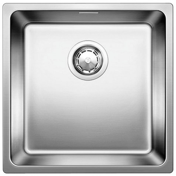 Andano 400-IF Нержавеющая стальКухонные мойки<br>Кухонная мойка Blanco Andano 400-IF 518311 (522957).<br>Изготовлена из качественной нержавеющей стали. Материал невероятно прочен, не боится царапин и бытовых повреждений, устойчив к бытовым кислотам и абсолютно безопасен для продуктов. Мойка не подвержена коррозии и легко переносит воздействие высоких температур.<br>Глубокая и просторная чаша удобна для мытья крупной посуды.<br>Скрытый перелив.<br>Монтаж: <br>Врезной, вровень со столешницей.<br>Для установки в шкаф шириной от 45 см.<br>Размеры монтажного отверстия: 43x43 см.<br>В случае установки мойки возле стены или пенала нужно учитывать ширину пристенного канта.<br>В комплекте поставки: мойка, отводная арматура InFino с корзинчатым вентилем, перелив C-overflow, набор крепежей.<br>