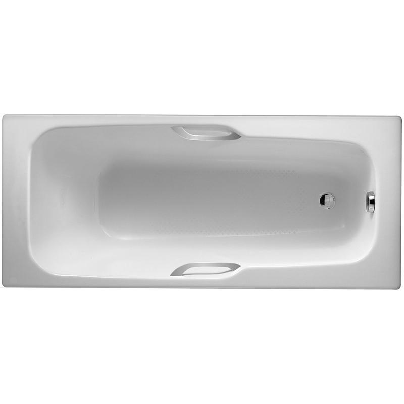 Prelude 150x70 с антискользящим покрытиемВанны<br>Чугунная ванна Jacob Delafon Prelude 150x70 E2944-00 с отверстиями для ручек.<br>Изящный дизайн ванны совмещен с функциональностью и удобством. Универсальный стиль этой модели дополнит интерьер большинства современных ванных комнат.<br>Изготовлена из чугуна - прочного и долговечного материала. Качественная эмаль устойчива к бытовым повреждениям, долго сохраняет первоначальный цвет и блеск.<br>Смягченные углы с внутренней стороны чаши ванны облегчают уход.<br>Плавный наклон спинки, повторяющий анатомические особенности тела человека. Широкая в плечах, ванна сужается к ногам для большего удобства во время водных процедур.<br>Технология тепловой инерции дольше сохраняет воду горячей.<br>Антискользящие насечки на дне ванны для дополнительной безопасности.<br>Цвет: белый.<br>Монтаж: на ножках.<br>В комплекте поставки: чаша ванны.<br>