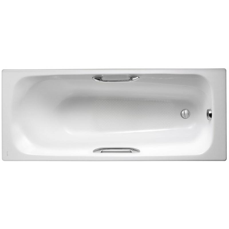 Melanie 170x70 с антискользящим покрытиемВанны<br>Чугунная ванна Jacob Delafon Melanie 170x70 E2925-00 с отверстиями для ручек.<br>Изящный дизайн ванны совмещен с функциональностью и удобством. Универсальный стиль этой модели дополнит интерьер большинства современных ванных комнат.<br>Изготовлена из чугуна - прочного и долговечного материала. Качественная эмаль устойчива к бытовым повреждениям, долго сохраняет первоначальный цвет и блеск.<br>Смягченные углы с внутренней стороны чаши ванны облегчают уход.<br>Плавный наклон спинки, повторяющий анатомические особенности тела человека.<br>Антискользящие насечки на дне ванны для дополнительной безопасности.<br>Цвет: белый.<br>Монтаж: на ножках.<br>В комплекте поставки: чаша ванны.<br>