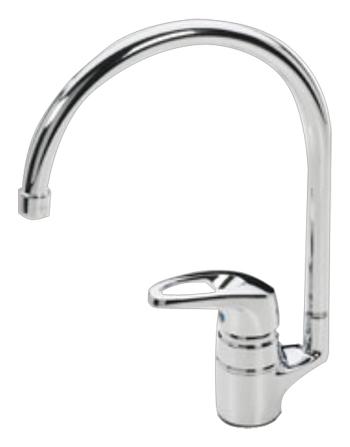 Safira 1038F ХромСмесители<br>Смеситель для кухни Oras Safira 1038F, однорычажный. Высокий поворотный излив, угол поворота 120 градусов, гибкая подводка, встроенные опции ограничения температуры и напора воды, расход воды 14,4 л/мин, шаровый картридж. Двухкомпонентная прочная рукоятка обеспечивает удобство использования.<br>