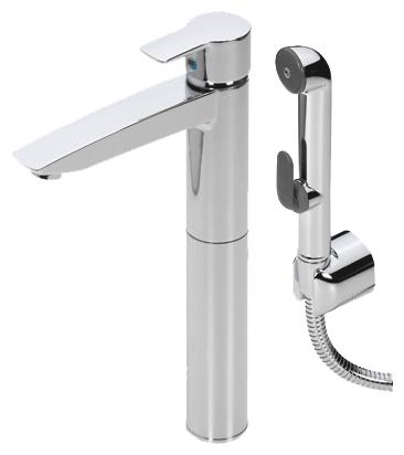 Cubista 2802 ХромСмесители<br>Смеситель для раковины Oras Cubista 2802 с гигиеническим душем Bidetta, однорычажный, высокий. Донный клапан, гибкая подводка, расход воды 10,8 л/мин.<br>