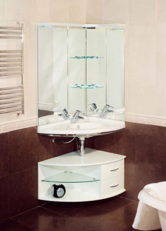Трио белая хромМебель для ванной<br>De Aqua Трио Тумба нижняя угловая на ножках. Стоимость указанна за тумбу с фурнитурой хром, без раковины и зеркала в белом цвете.<br>
