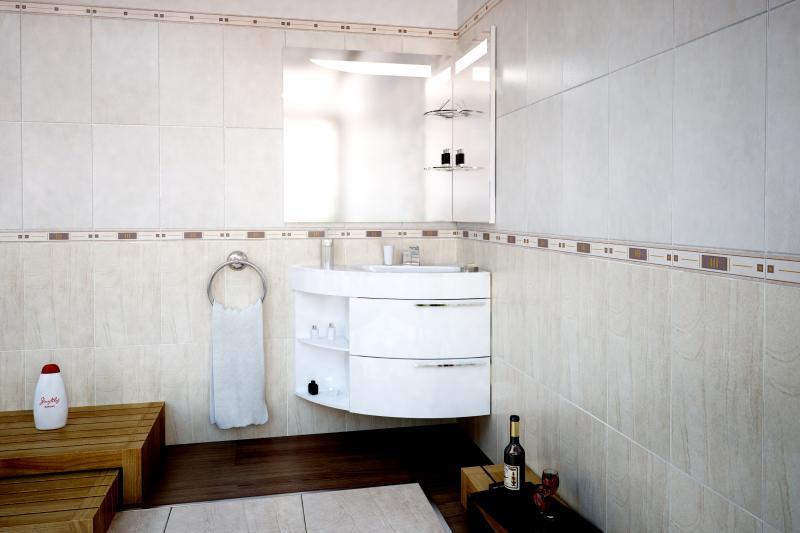 Трио Lux бежеваяМебель для ванной<br>Тумба подвесная De Aqua Трио Lux угловая под раковину. Цена указана непосредственное за тумбу. Дополнительно Вы можете приобрести раковину и зеркало. Цвет бежевый.<br>