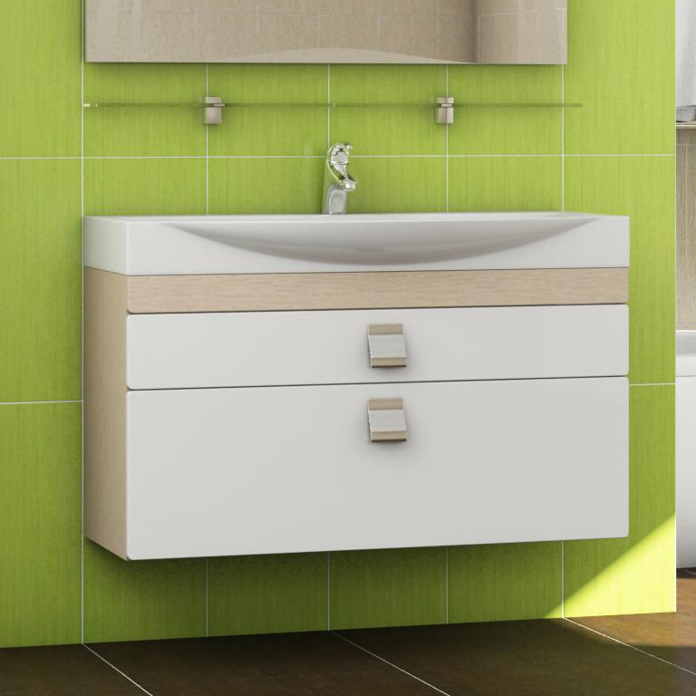 Wave 100 Wave-2-1000 Белый/дуб светлыйМебель для ванной<br>Мебель для ванной Vigo Wave 100 подвесная для раковины Wave 100. Направляющие скрытые полного выдвижения, механизм мягкого и бесшумного самозакрывания (Blum, Австрия) .<br>