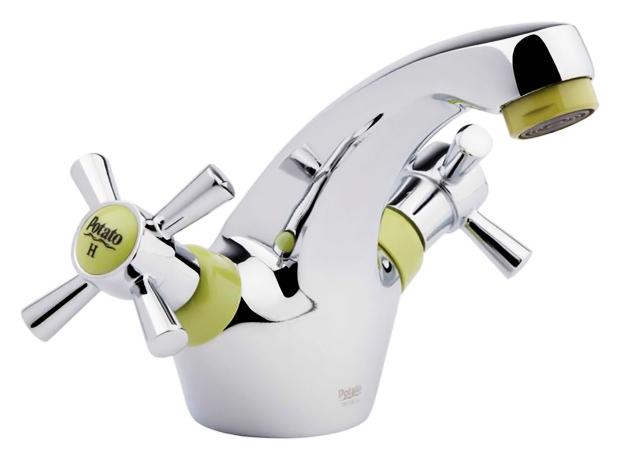 P1054-11 хром/зеленыйСмесители<br>Смеситель для раковины Potato P1054-11 двухвентильный. Керамические кран-буксы G1/2, поворот 180 градусов. Гибкая подводка 400 мм, G1/2. Цена указана за смеситель, гибкую подводку и комплект крепления. Все остальное приобретается дополнительно.<br>