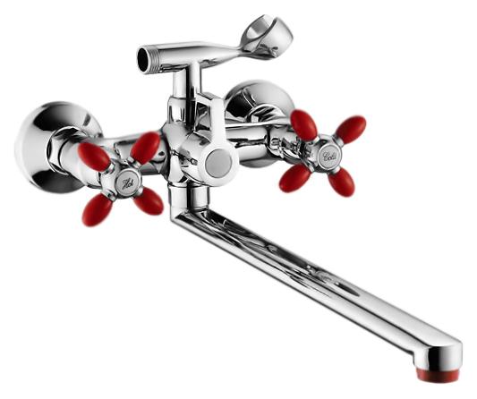 P2771-5 хром/красныйСмесители<br>Смеситель для ванны Potato P2771-5 с душевым гарнитуром. Длинный поворотный излив 400 мм. Латунные с керамическими пластинами кран-буксы, поворот 180 градусов. Длина шланга 1500 мм. Поворотный переключатель ванна/душ.<br>