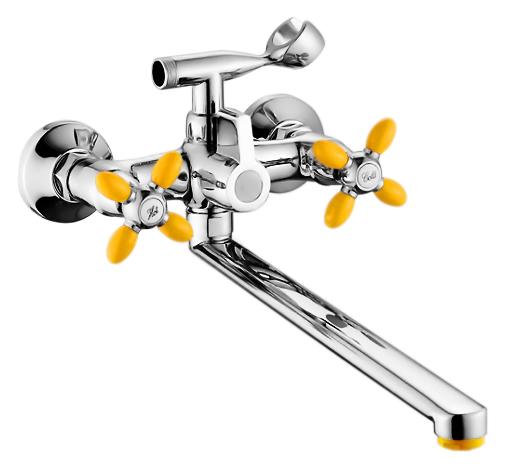 P2771-10 хром/желтыйСмесители<br>Смеситель для ванны Potato P2771-10 с душевым гарнитуром. Длинный поворотный излив 400 мм. Латунные с керамическими пластинами кран-буксы, поворот 180 градусов. Длина шланга 1500 мм. Поворотный переключатель ванна/душ. Цена указана за смеситель, шланг, душевую лейку, держатель для лейки и комплект крепления. Все остальное приобретается дополнительно.<br>